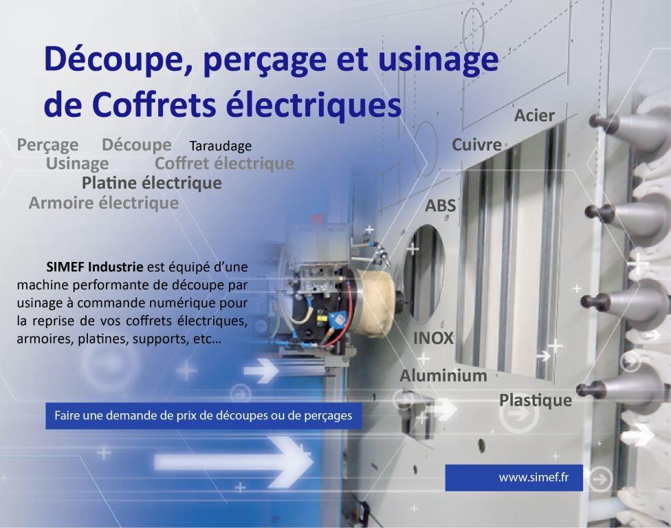 Découpe, perçage et usinage de coffrets électriques