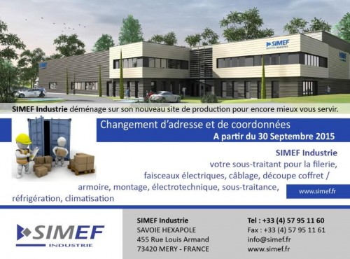 Nouveau site de production - SIMEF Industrie